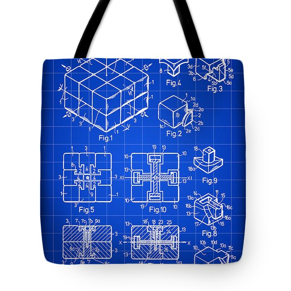 Rubik's Cube Patent 1983 - Blue Tote Bag by Stephen Younts