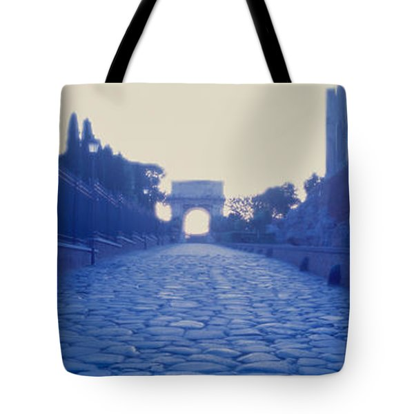 Ruins Along A Road At Dawn, Roman Tote Bag