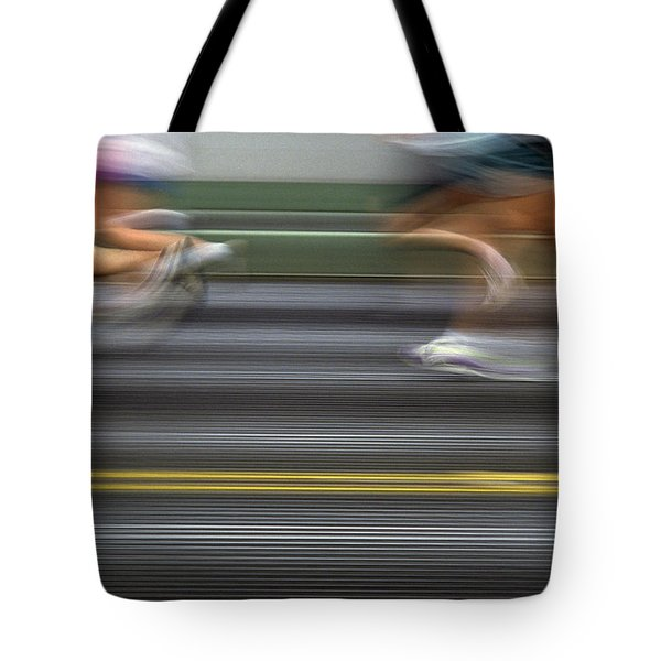 Runners Blurred Tote Bag by Jim Corwin