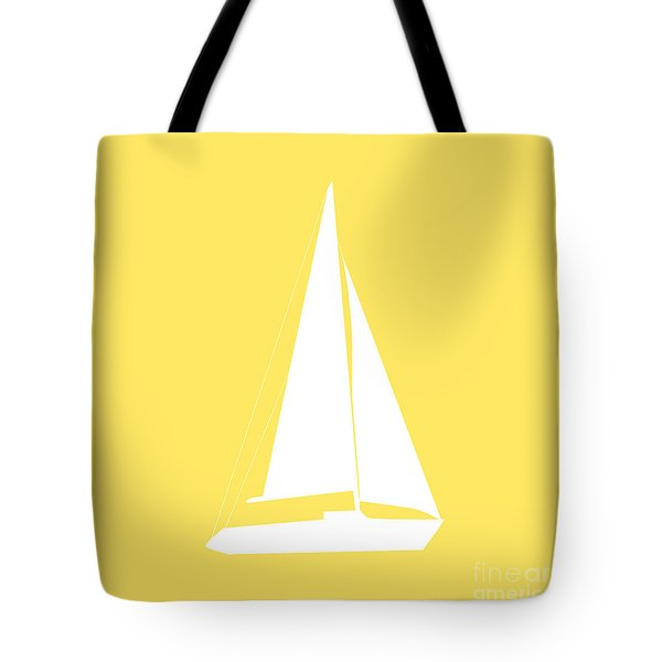 Sailboat In Yellow And White Tote Bag