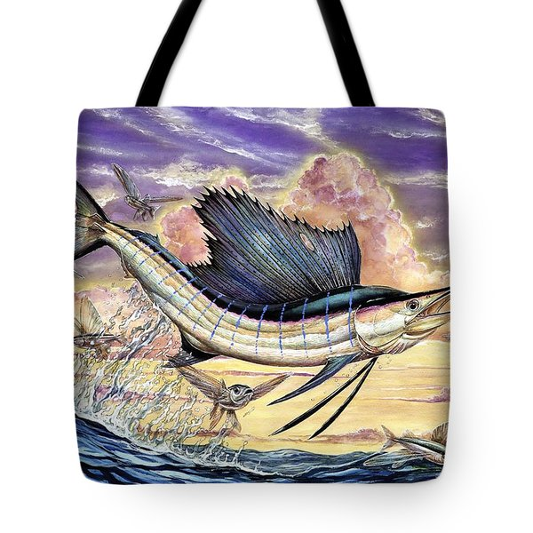 Sailfish And Flying Fish In The Sunset Tote Bag