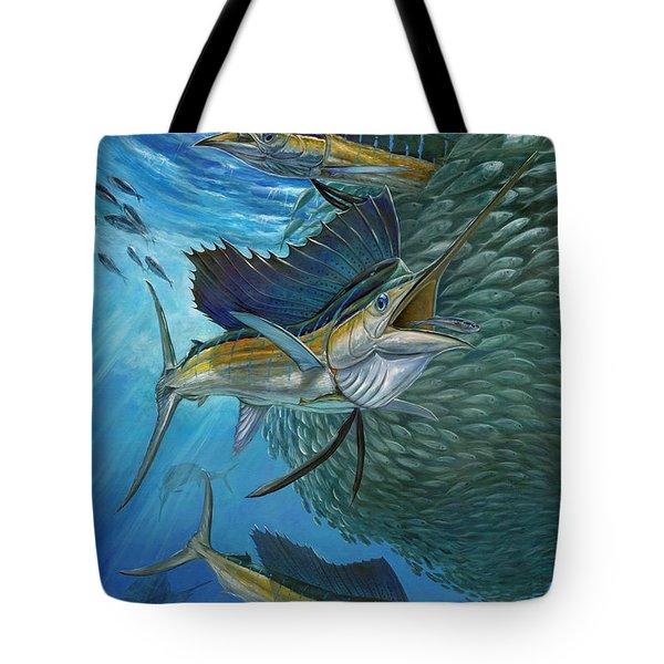 Sailfish With A Ball Of Bait Tote Bag