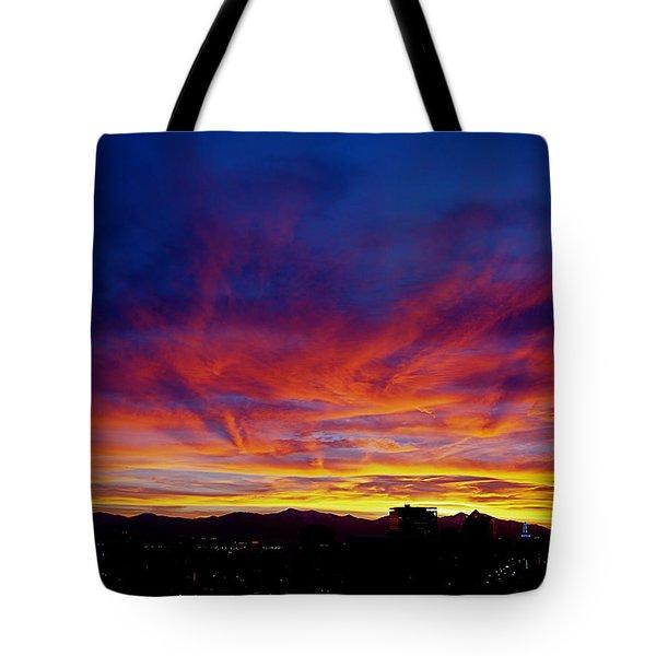 Salt Lake City Sunset Tote Bag by Rona Black