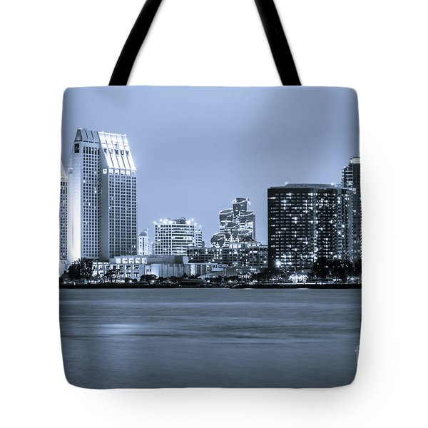 San Diego At Night Tote Bag by Paul Velgos