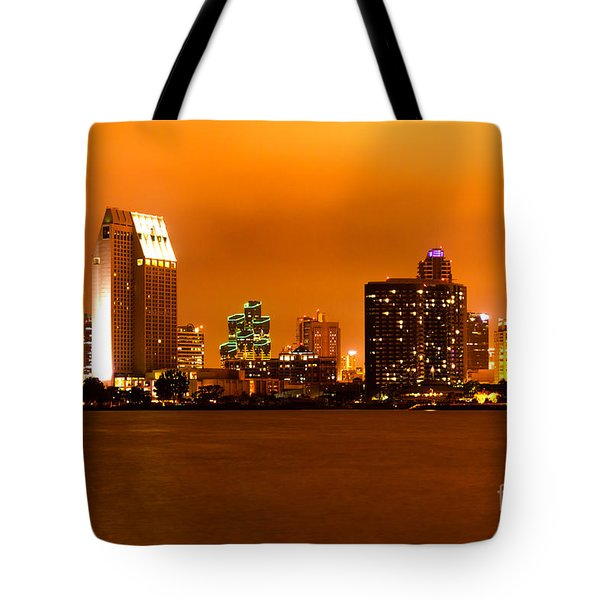 San Diego Skyline At Night Tote Bag by Paul Velgos