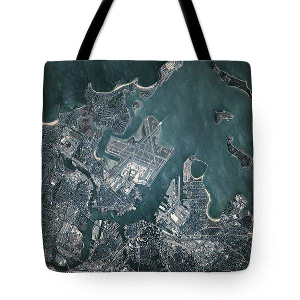 Satellite View Of Boston Tote Bag