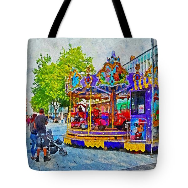 Saturday Fun On Queen Street In Cardiff Wales Tote Bag