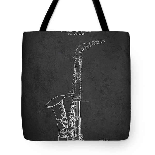 Saxophone Patent Drawing From 1937 - Dark Tote Bag by Aged Pixel