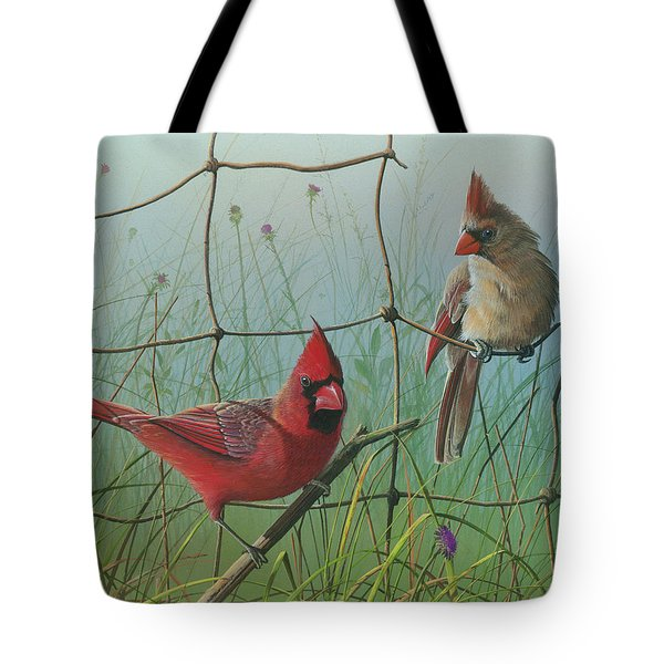 Tote Bag featuring the painting Scarlet by Mike Brown
