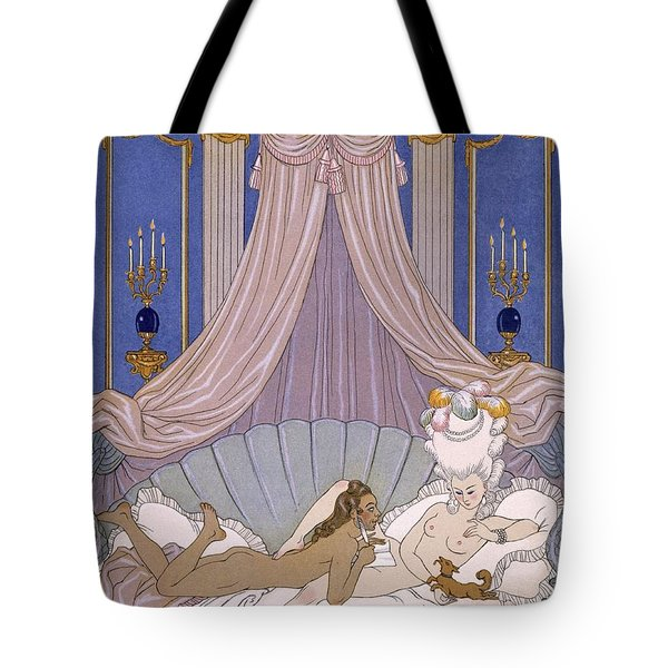 Scene From 'les Liaisons Dangereuses' Tote Bag by Georges Barbier