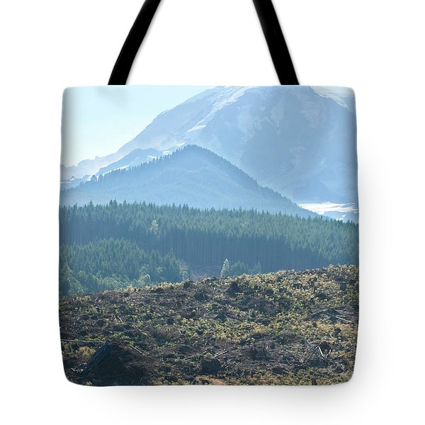 Scenic Of Clear Cutting Near Mt Tote Bag