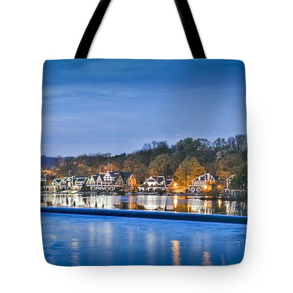 Schuylkill River  Boathouse Row Lit At Night  Tote Bag