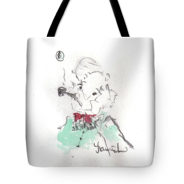 Tote Bag featuring the mixed media Scrooge by Laurie Lundquist