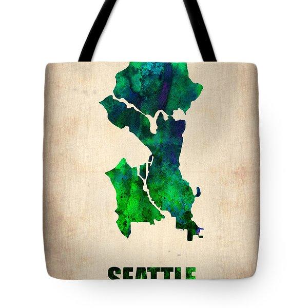 Seattle Watercolor Map Tote Bag
