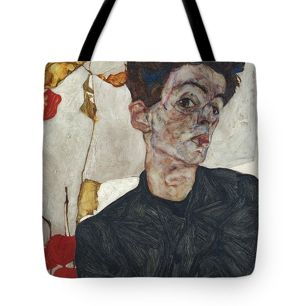 Self-portrait With Physalis Tote Bag by Celestial Images