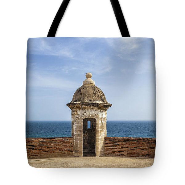 Tote Bag featuring the photograph Sentry Box In Old San Juan Puerto Rico by Bryan Mullennix