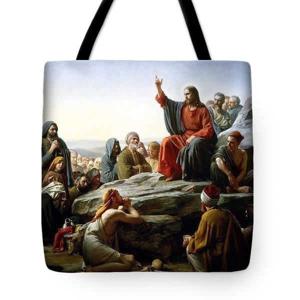 Sermon On The Mount Tote Bag by Carl Bloch