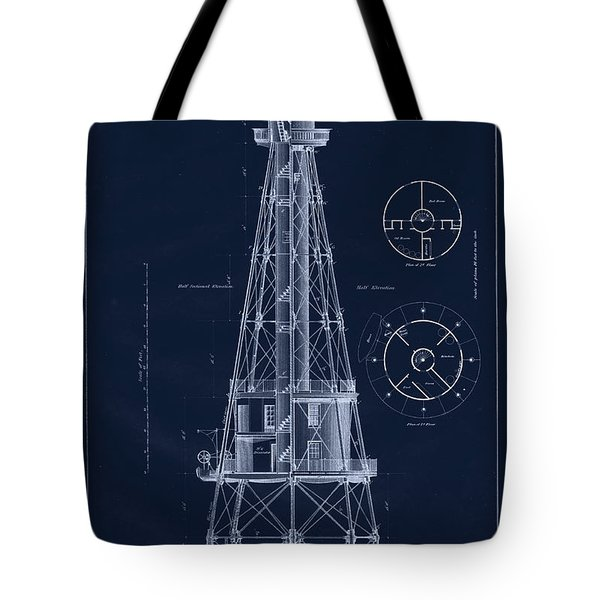 Ship Shoal Lighthouse Drawing Tote Bag by Jerry McElroy