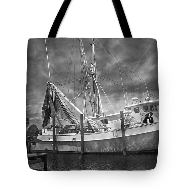 Shrimpin' Boat Captain And Mates Tote Bag by Betsy Knapp