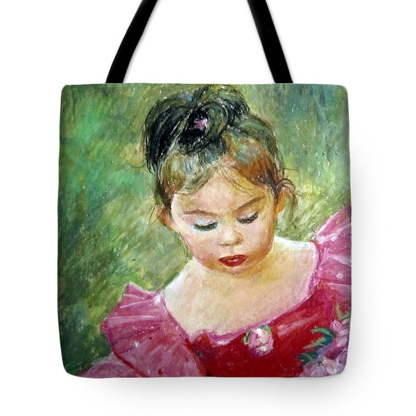 Tote Bag featuring the painting Shy Rose by Jieming Wang