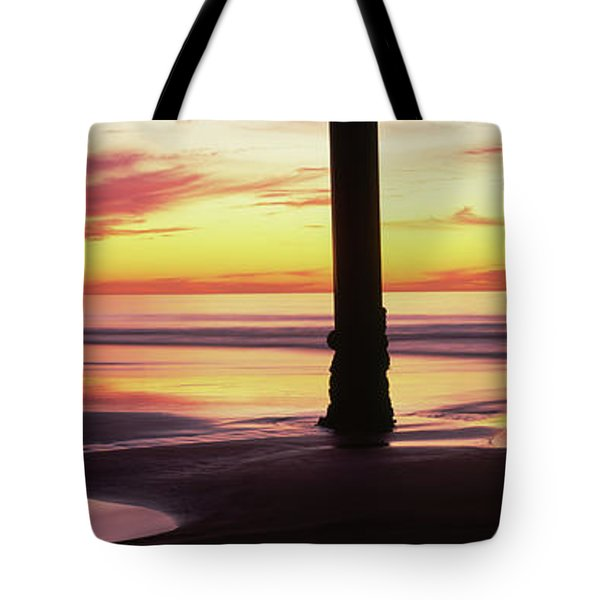 Silhouette Of A Pier In The Pacific Tote Bag