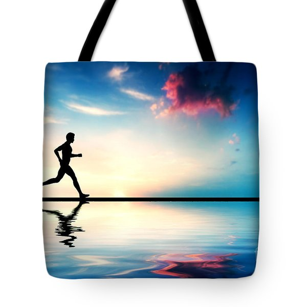 Silhouette Of Man Running At Sunset Tote Bag