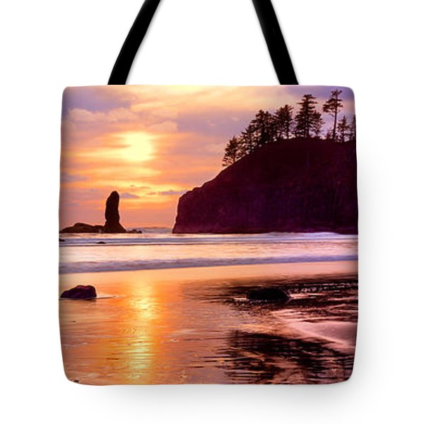 Silhouette Of Sea Stacks At Sunset Tote Bag