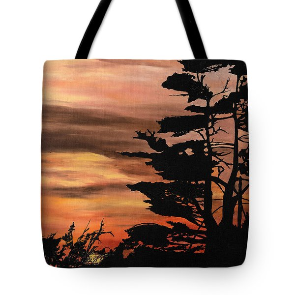 Tote Bag featuring the painting Silhouette Sunset by Mary Ellen Anderson