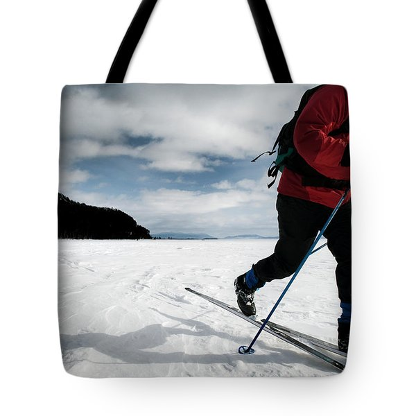 Skiing On The Frozen Tundra Tote Bag