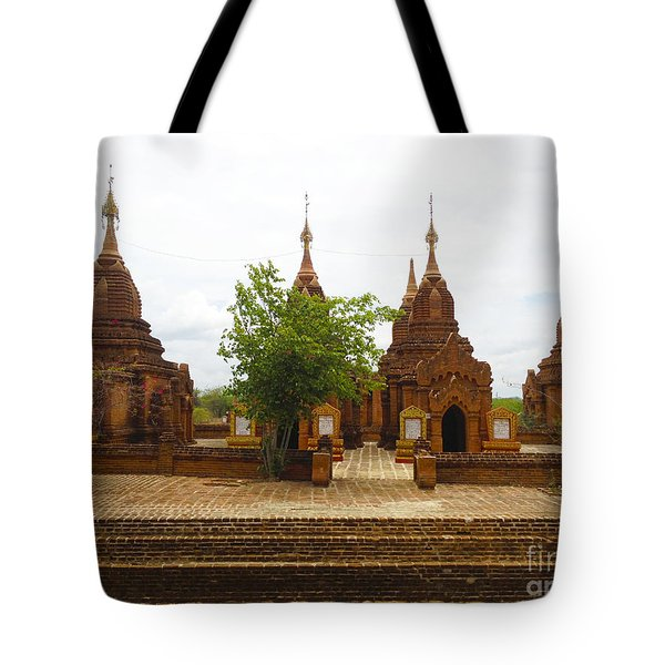 Tote Bag featuring the photograph Smaller Temples Next To Dhammayazika Pagoda Built In 1196 By King Narapatisithu Bagan Burma by Ralph A  Ledergerber-Photography