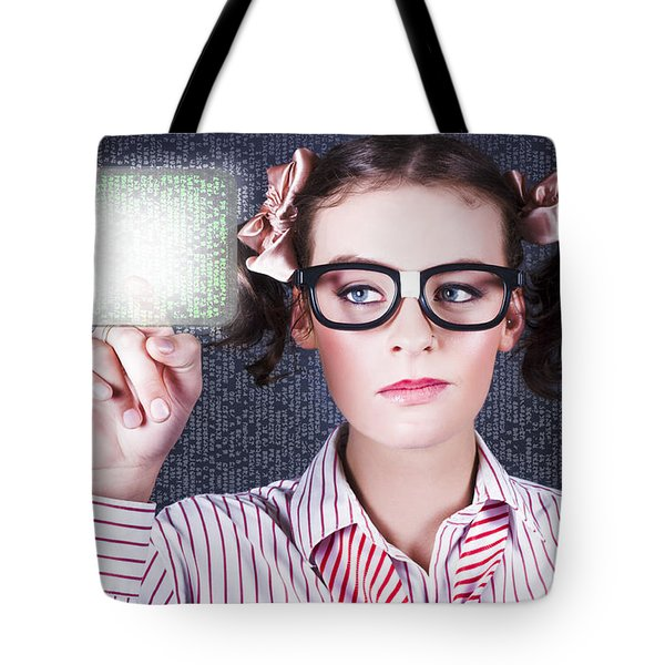Smart Business Woman Pressing Digital Touch Screen Tote Bag