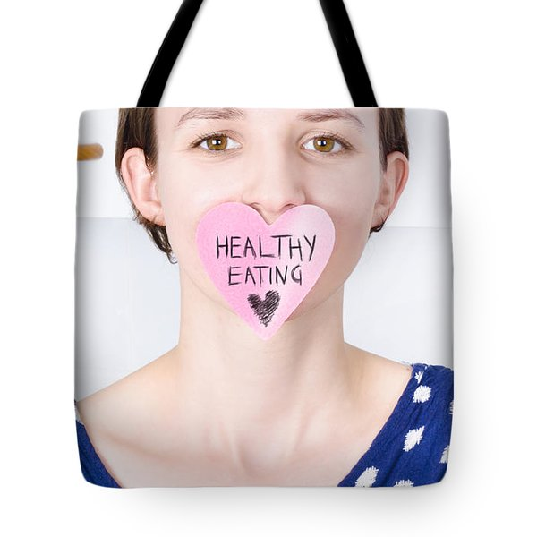 Smiling Woman With Healthy Eating Love Tote Bag