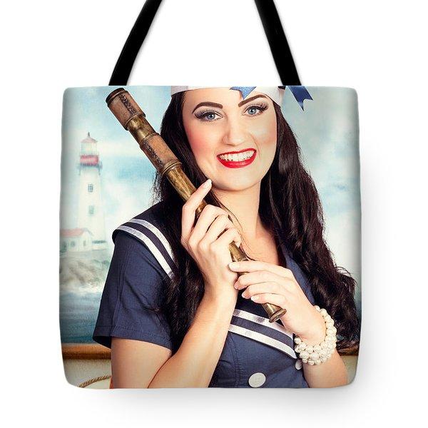 Smiling Young Pinup Sailor Girl. American Navy Tote Bag