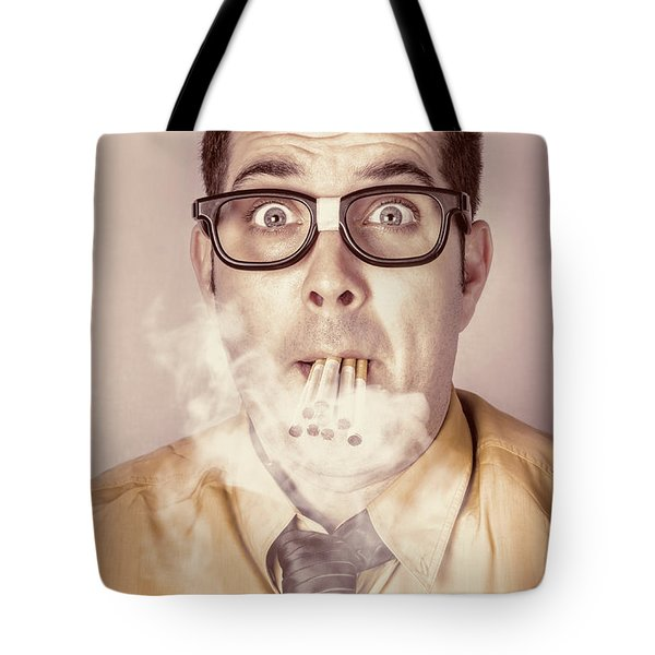 Smoking Nerd Businessman Under Work Stress Tote Bag