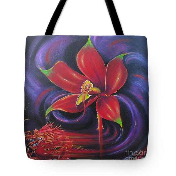 Tote Bag featuring the painting Snap Dragon by S G