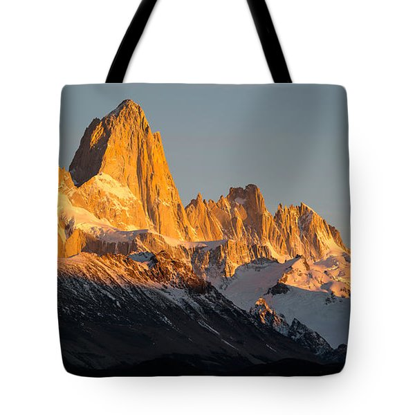 Snowcapped Mountain Range, Mt Fitzroy Tote Bag