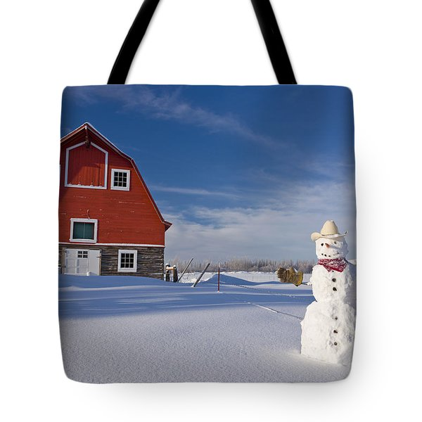 Snowman Dressed Up As A Cowboy Standing Tote Bag