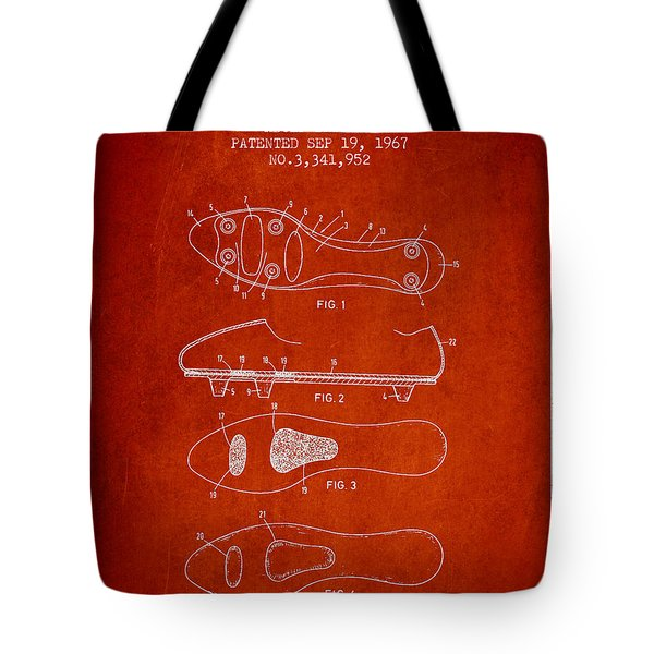 Soccer Shoe Patent From 1967 Tote Bag by Aged Pixel
