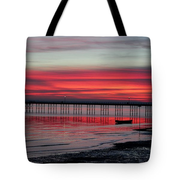Southend Pier Sunset Tote Bag