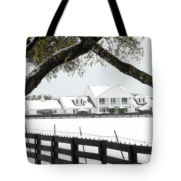 Southfork Ranch In Winter Tote Bag by Dyle   Warren