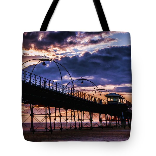 Southport Pier At Sunset Tote Bag