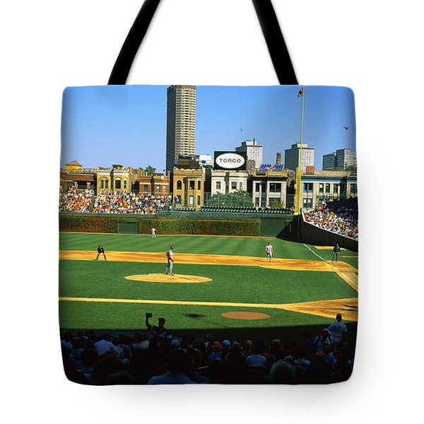 Spectators In A Stadium, Wrigley Field Tote Bag by Panoramic Images