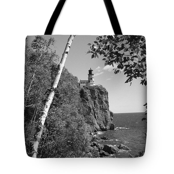 Split Rock Black And White Tote Bag by Bonfire Photography