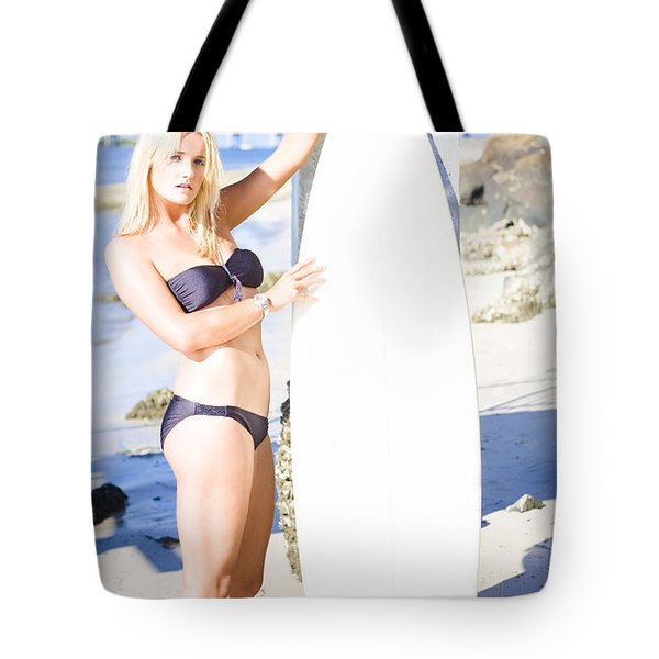 Sport Portrait Of Sexy Blond Surfer Babe Tote Bag