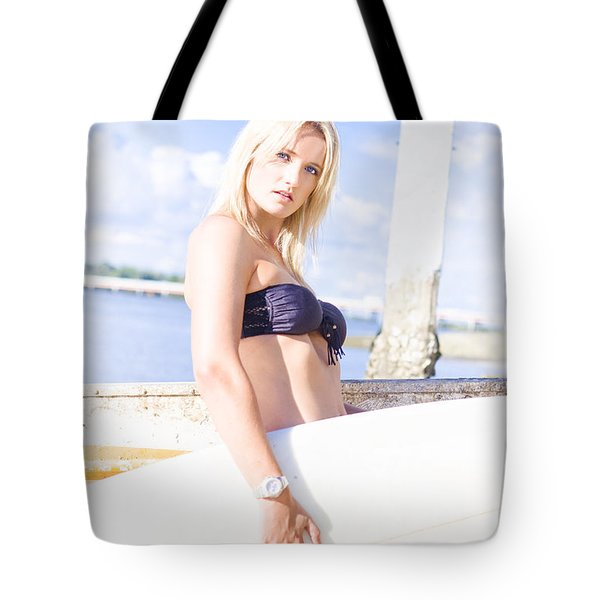 Sports Person Carrying Surf Board Outdoors Tote Bag