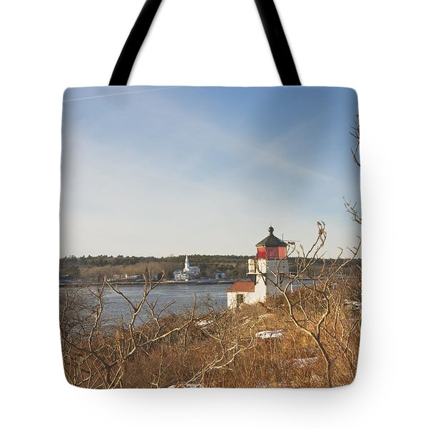 Squirrel Point Lighthouse Kennebec River Maine Tote Bag by Keith Webber Jr