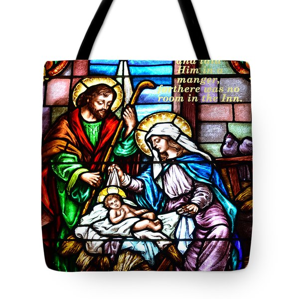 Tote Bag featuring the photograph St. Marys Nativity Stained Glass by Debby Pueschel