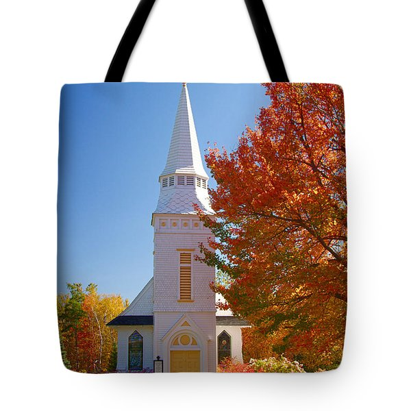 Tote Bag featuring the photograph St Matthew's In Autumn Splendor by Jeff Folger