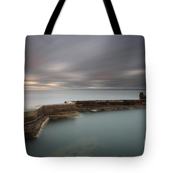 Tote Bag featuring the photograph St Monans Pier At Sunset by Maria Gaellman