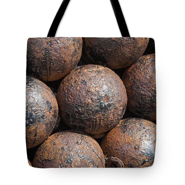 Tote Bag featuring the photograph Stack Of Cannon Balls At Castillo San Felipe Del Morro by Bryan Mullennix